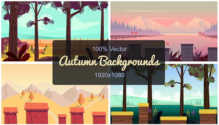 Set of Seamless Autumn Backgrounds