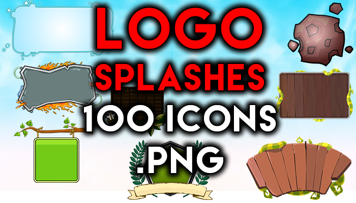 100 logo splashes for game icons and background