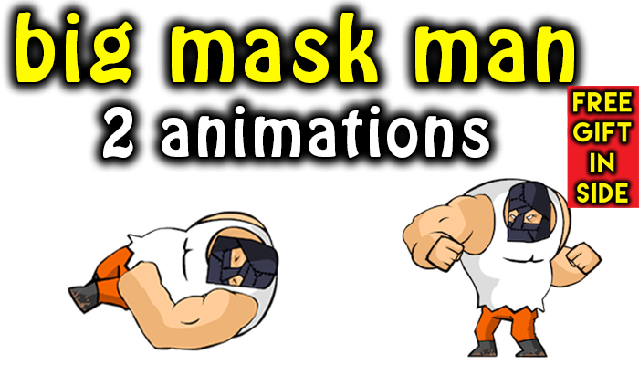 big mask man 2d 2 animations