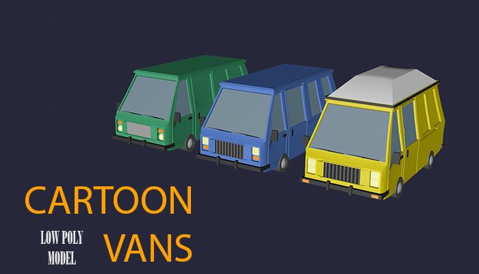 Low Poly Cartoon Vans
