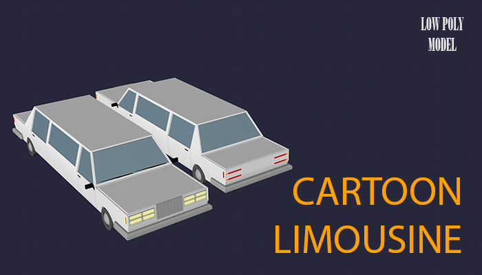 Low Poly Cartoon Limousine