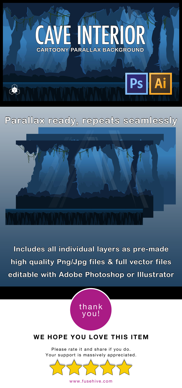 2D CAVE INTERIOR – Cartoony Parallax Background