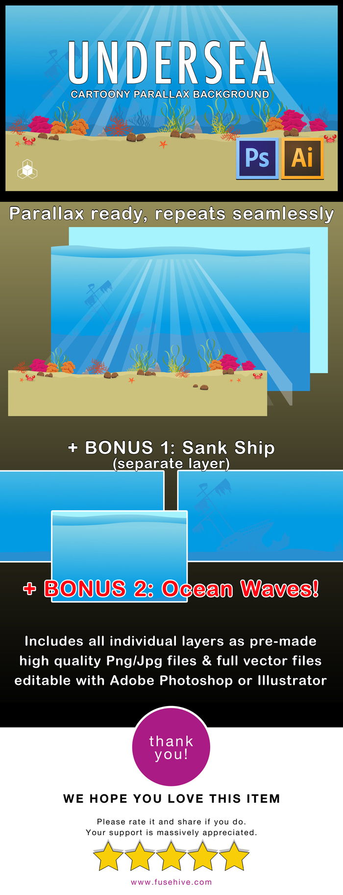 UNDER OCEAN WATER – 2D Cartoony Parallax Sea Background