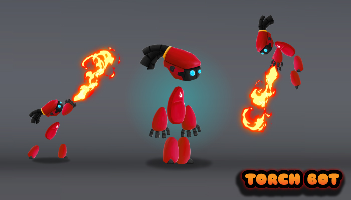 Torch Bot 2D Character Sprites
