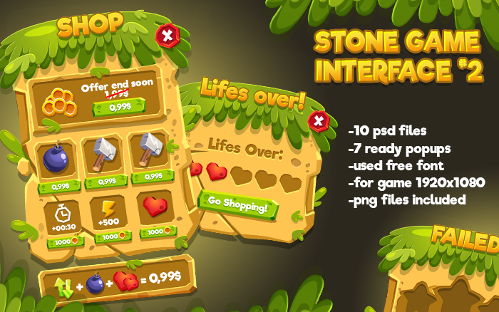 Cartoon Stone Game Interface 2