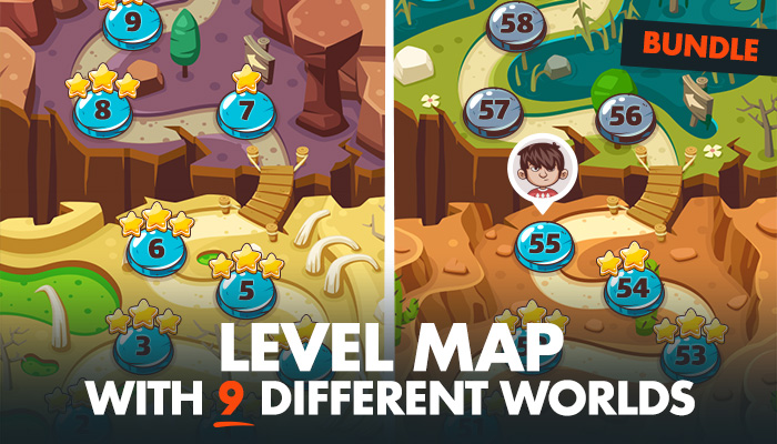 Game Level Map with 9 Different Worlds BUNDLE
