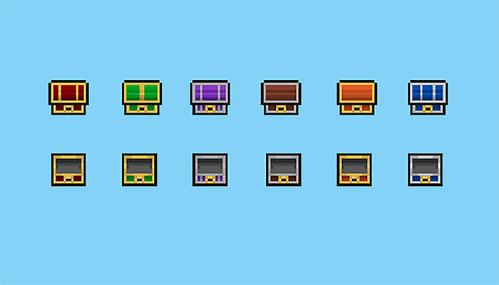 Pixel art chests collection