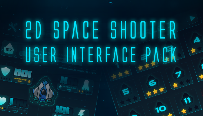2D Space Shooter GUI Pack