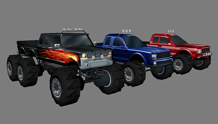 Low poly monster trucks.