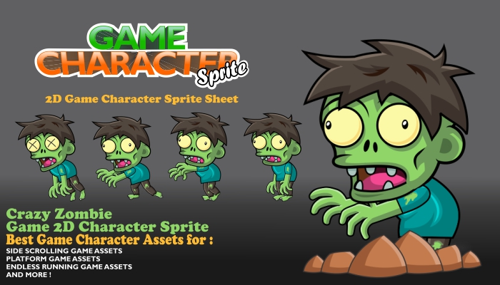 Crazy Zombie Enemy Game 2D Character Sprite