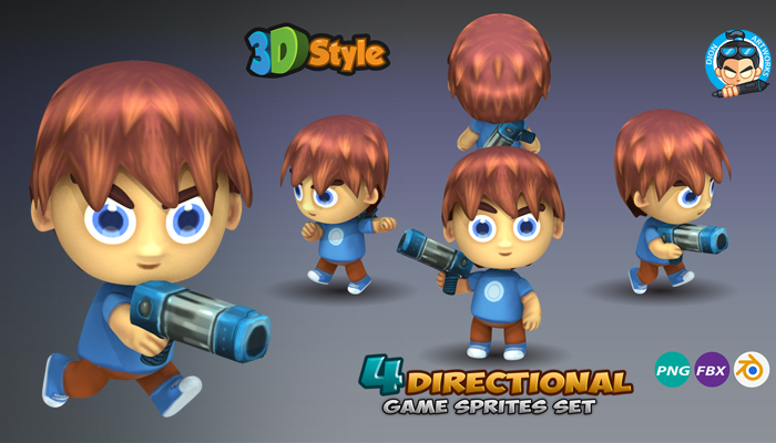 4-Directional Game Sprites 3D Rendered 01