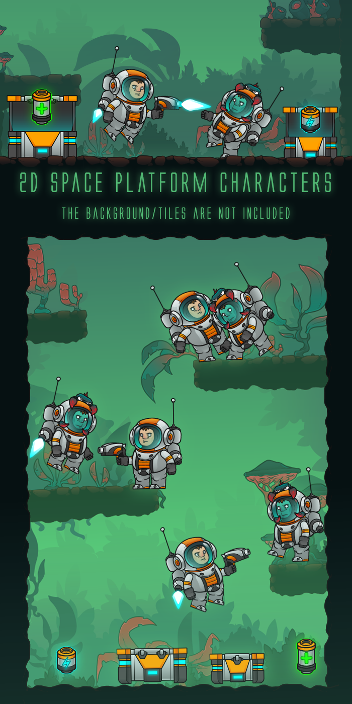 2D Animated Astronaut and Infected Astronaut