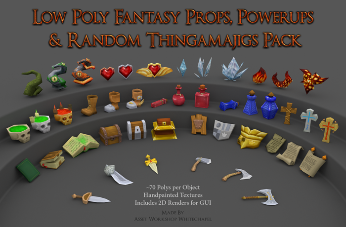 Low Poly Fantasy Props, Powerups And Random Thingamajigs Pack
