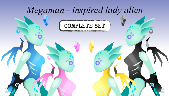 Megaman-inspired Lady Alien: COMPLETE SET
