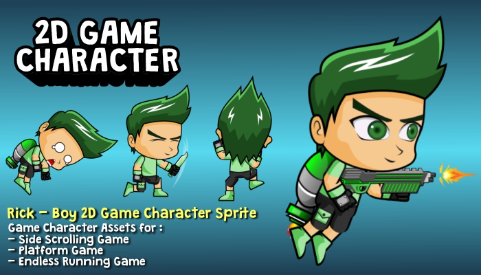 Rick – Boy 2D Game Character Sprite