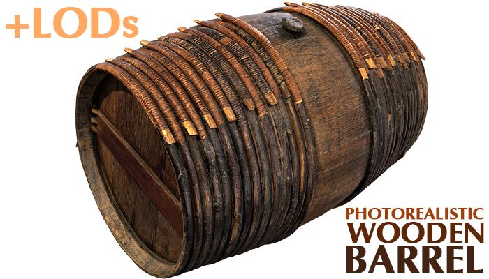 Photorealistic Wooden Barrel