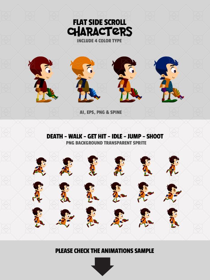 4 Flat Characters