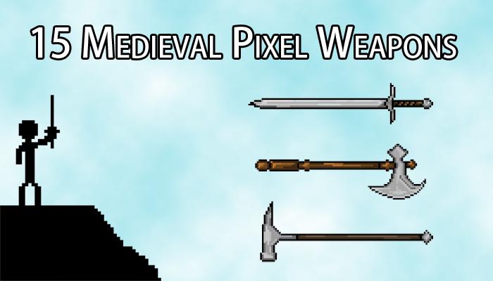 15 Medieval Pixel Weapons