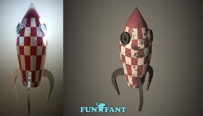 Toy Rocket Low-Poly PBR Clean and Dirty