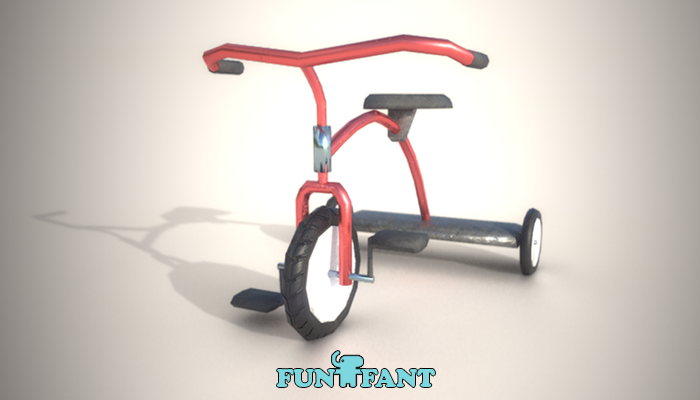 Tricycle with controller Low Poly PBR