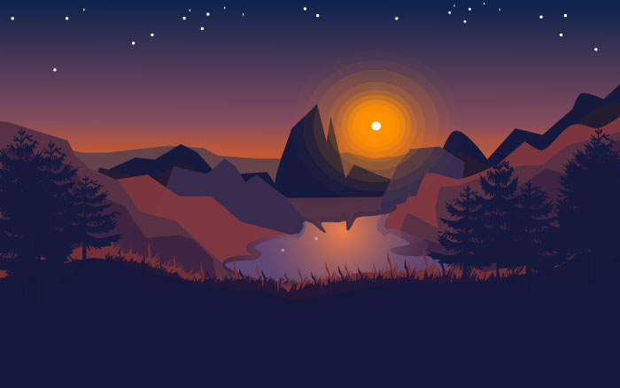 Night flat landscape