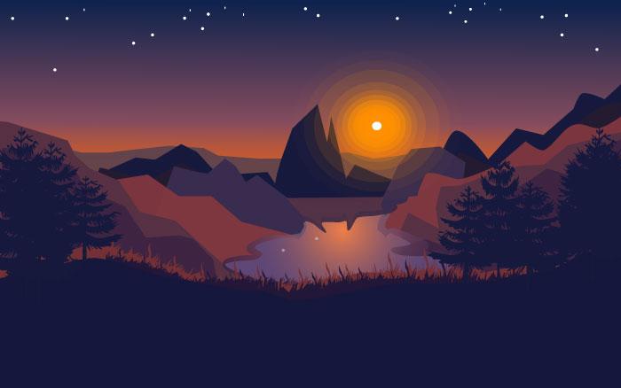 Night flat landscape