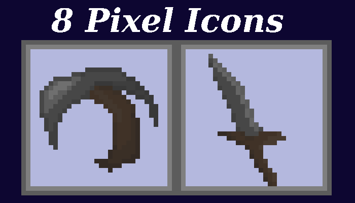 Pixel Survival Game Tool and Weapon Icons