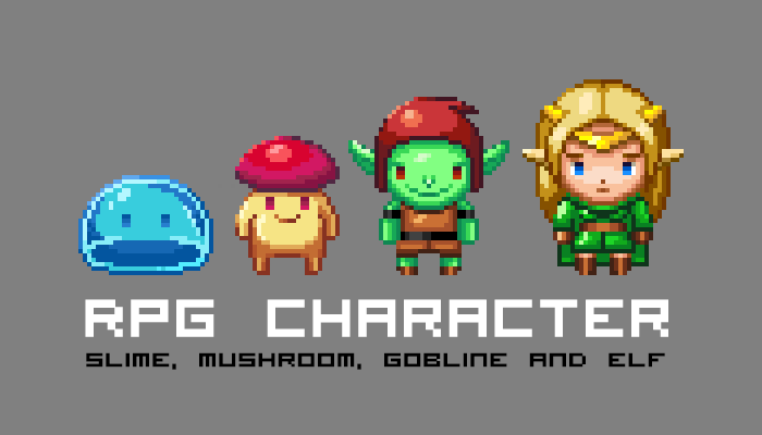 Slime, Mushroom, Goblin and Elf RPG Sprite Sheet