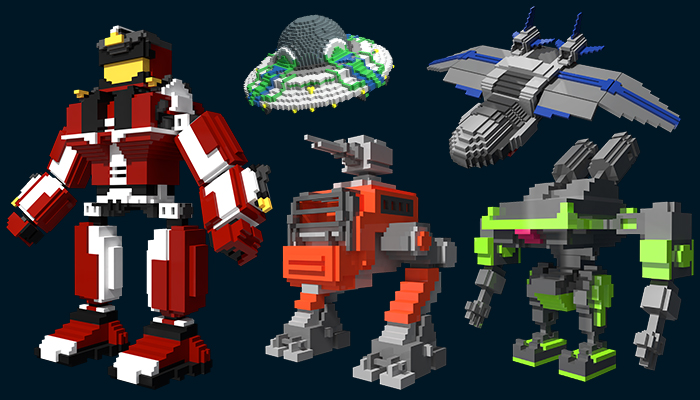 Voxel characters and objects for space game.