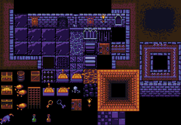 Dungeon top-down tileset