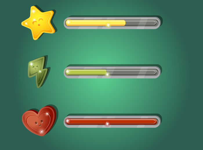 Set of Game Progress Bars