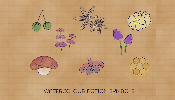 Watercolour Potion Ingredients