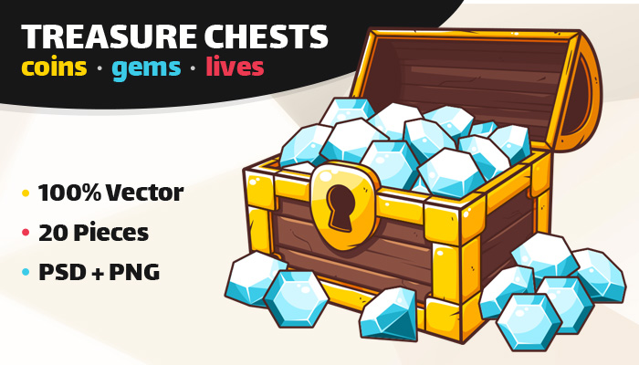 Coins, Gems and Lives Game Pack – Treasure Chest Icons