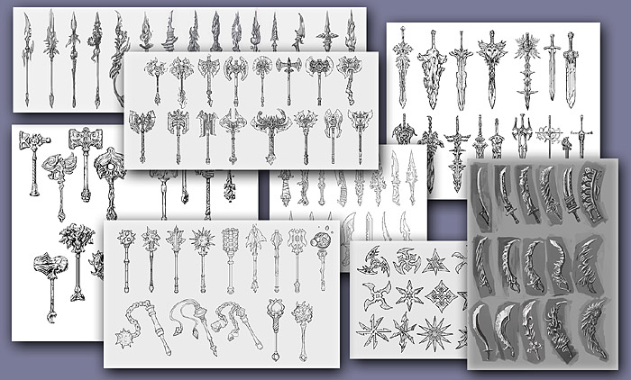 Sketches of 100 weapons