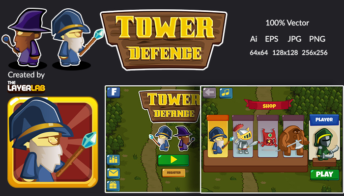 Tower Defence Game GUI Pack