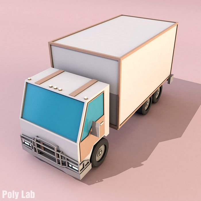 Cartoon Truck Low Poly 3D model