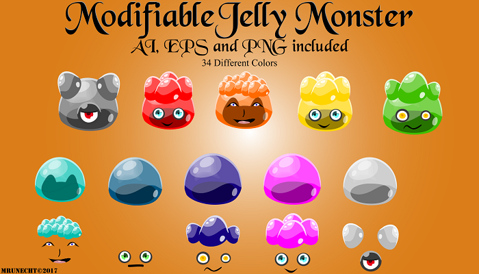 Modifiable Jelly Monster – 2D Vector Art