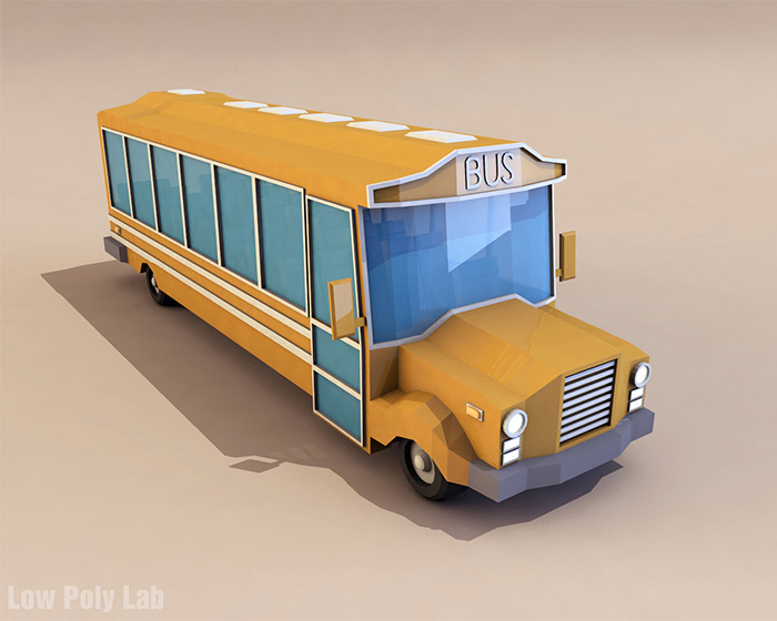 Cartoon School Bus Low poly 3D model