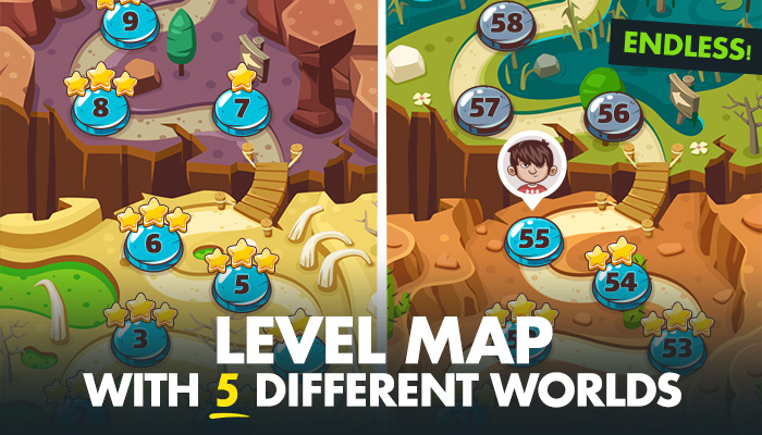 Game Level Map with 5 Different Worlds