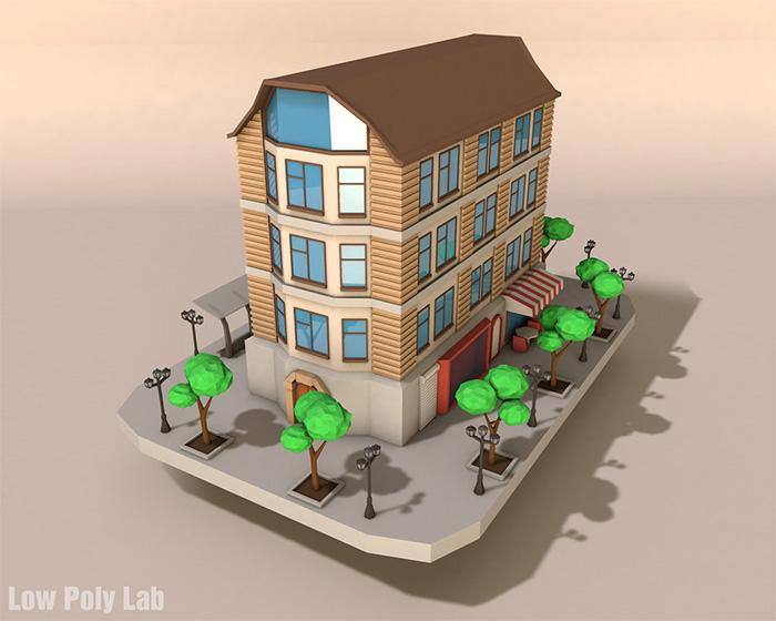 Cartoon City Building Low Poly 3D model