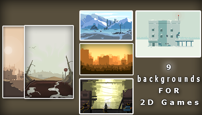 Pack of 9 apocalyptic landscapes