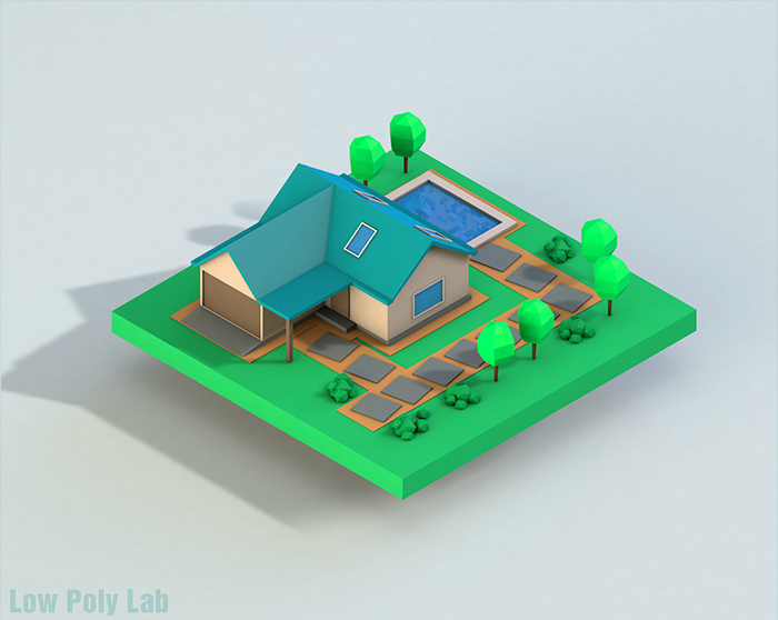 Cartoon House Low Poly 3D Model