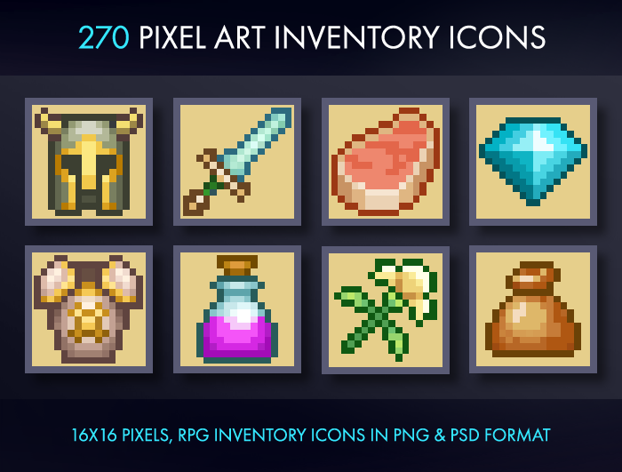 Pixel Art Inventory Icons – 16×16