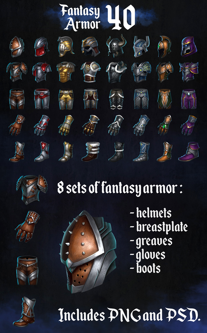 A set of 40 fantasy armor icons