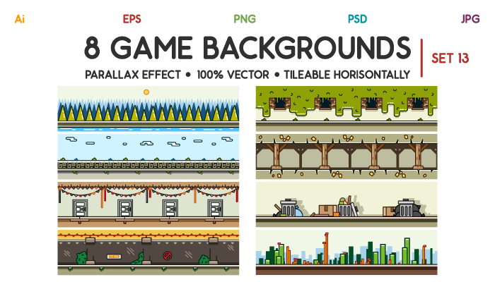 8 Game Backgrounds Set 13