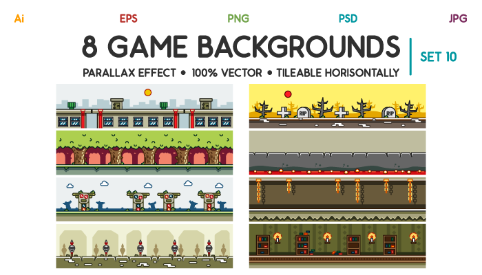 8 Game Backgrounds Set 10