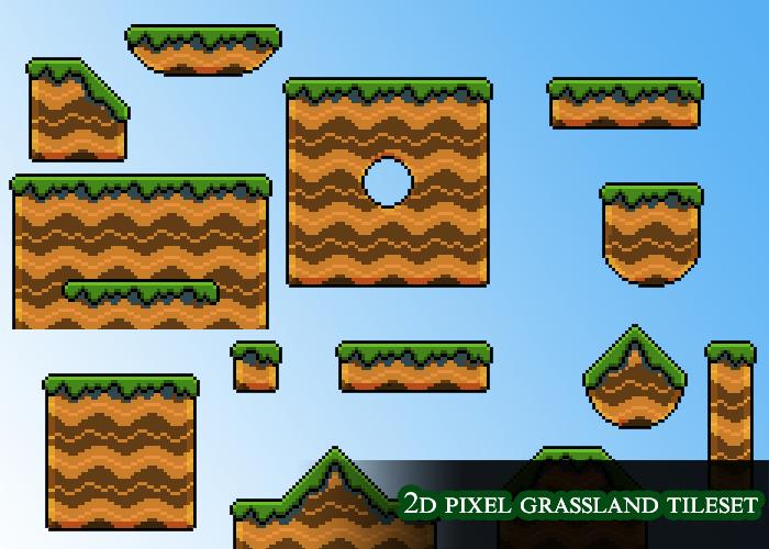 2d pixel grassland tileset