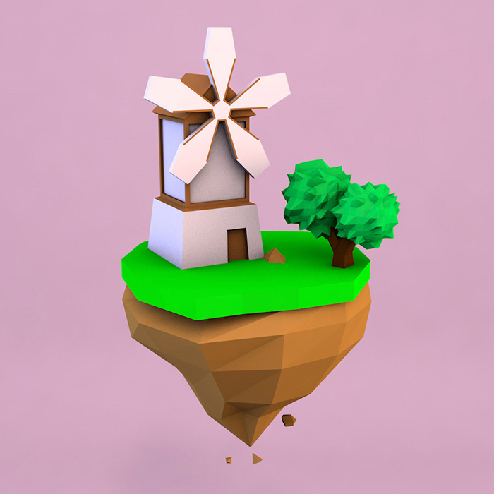 Cartoon Mill Low Poly 3D Model