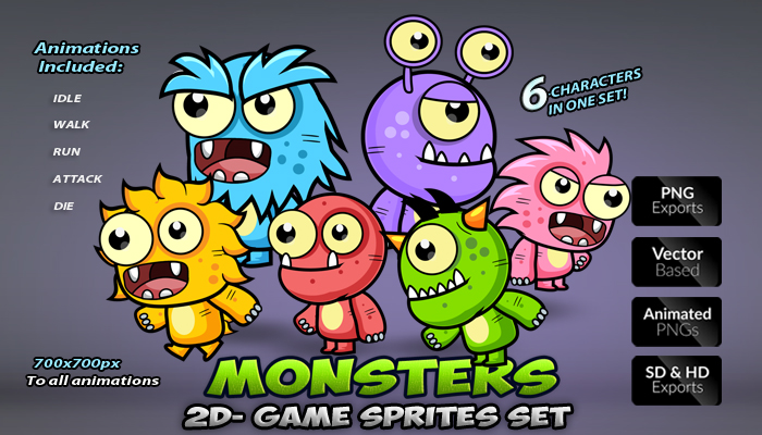 Monsters Enemies 2D Game Sprites Set