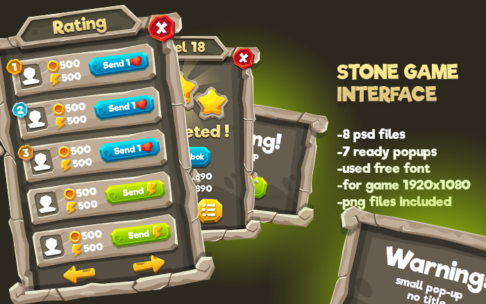 Stone Cartoon GUI Pack